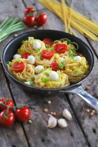 Spaghetti Kichererbsen Pesto Hummus