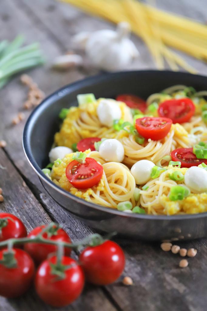 Spaghetti mit Kichererbsen