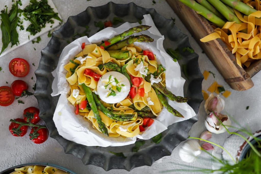 Bärlauch Pasta Grüner Spargel gebraten