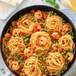 Lecker Pasta für Erbsenzähler (Erbsen, Garnelen & Parmesan) Linguine