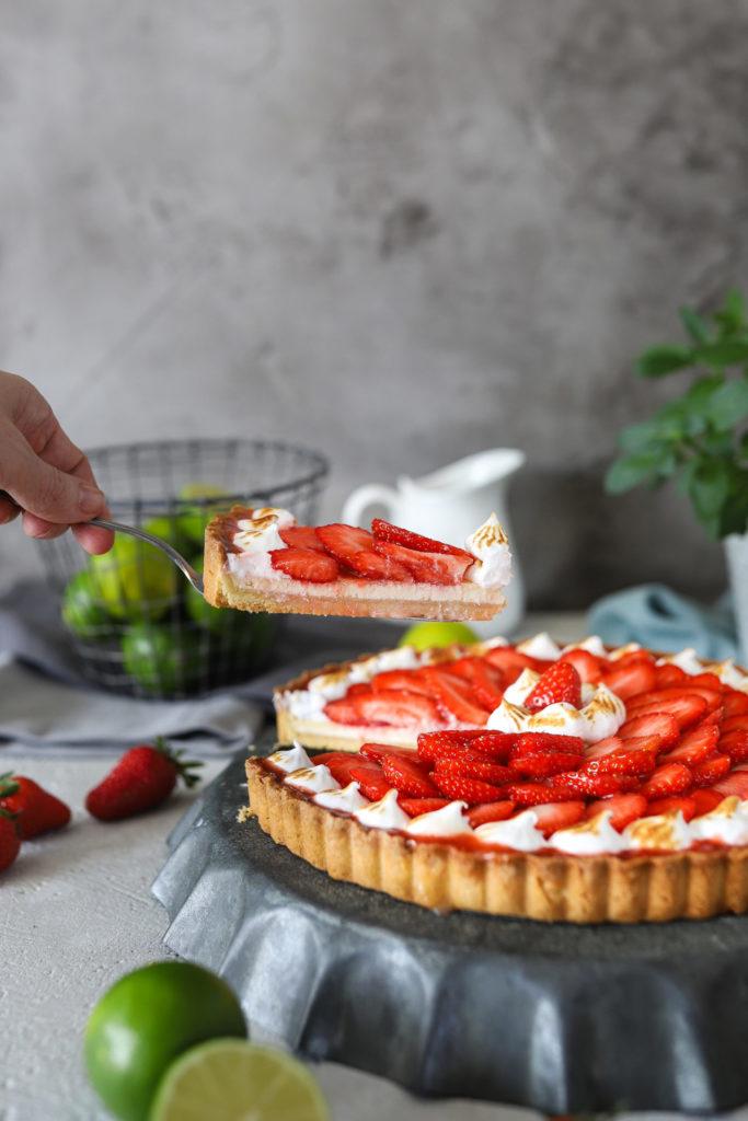 Limetten Erdbeeren Tarte